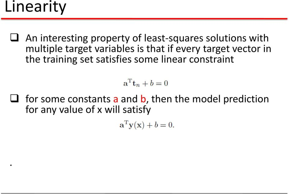 training set satisfies some linear constraint for some constants