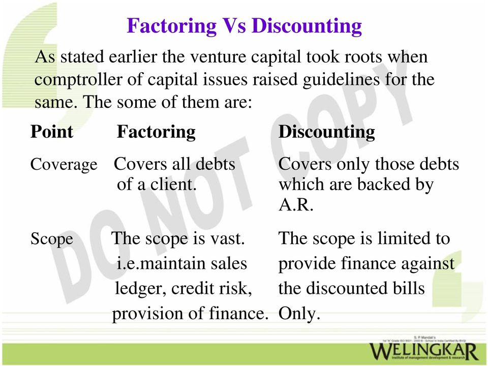 The some of them are: Point Factoring Discounting Coverage Covers all debts Covers only those debts of a