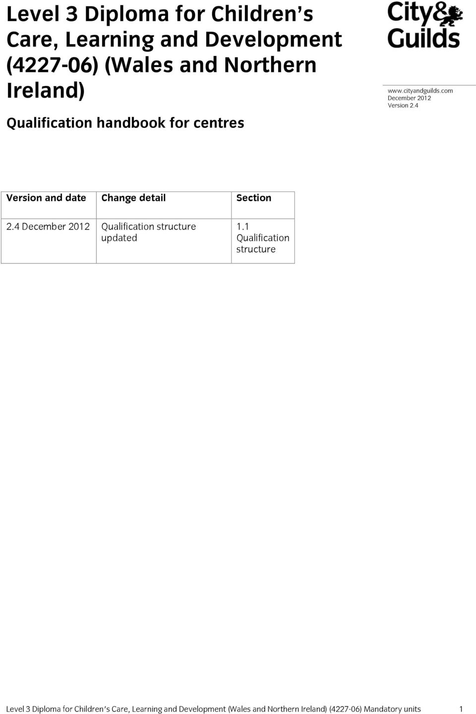 4 Version and date Change detail Section 2.4 December 2012 Qualification structure updated 1.