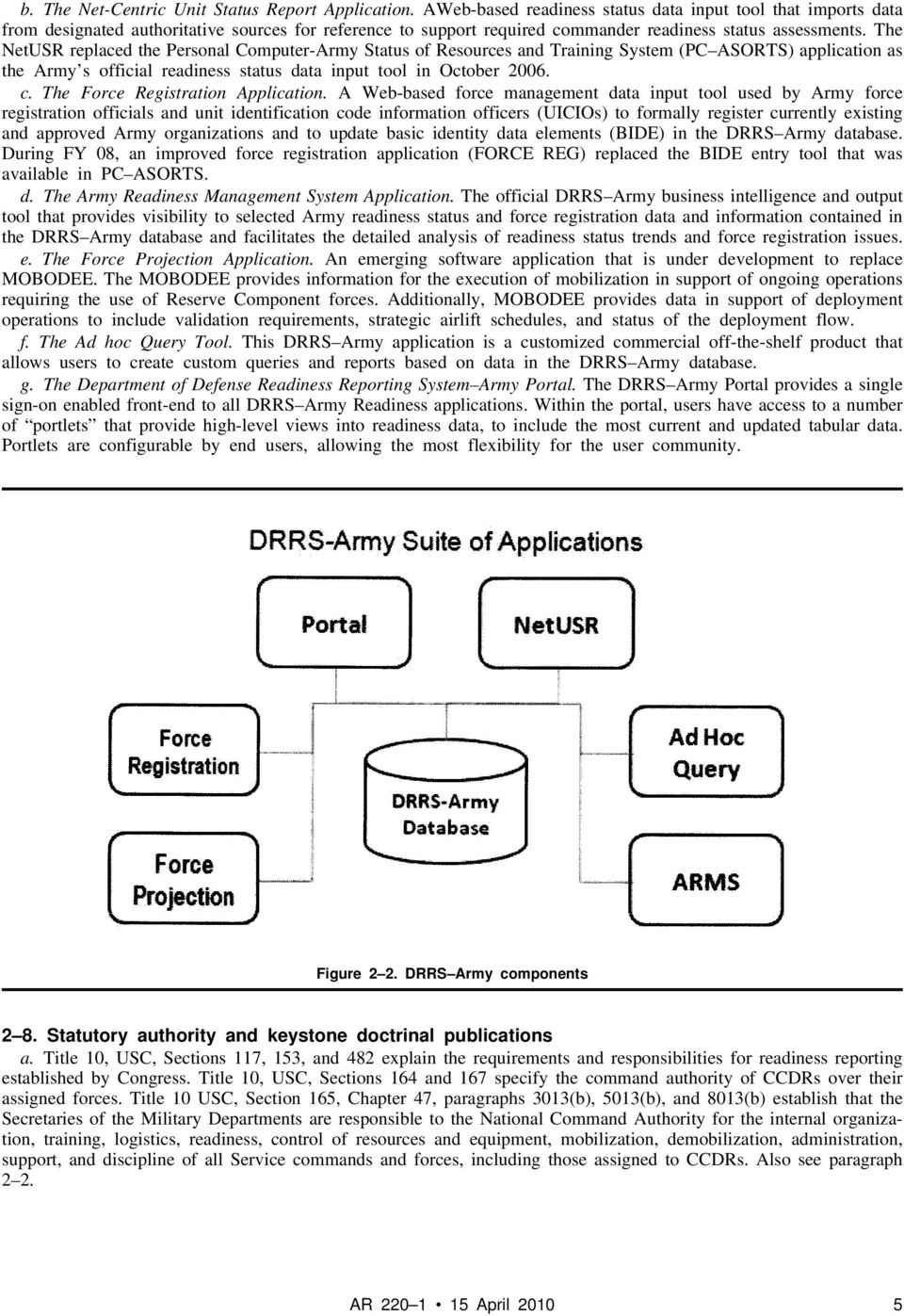 The NetUSR replaced the Personal Computer-Army Status of Resources and Training System (PC ASORTS) application as the Army s official readiness status data input tool in October 2006. c.