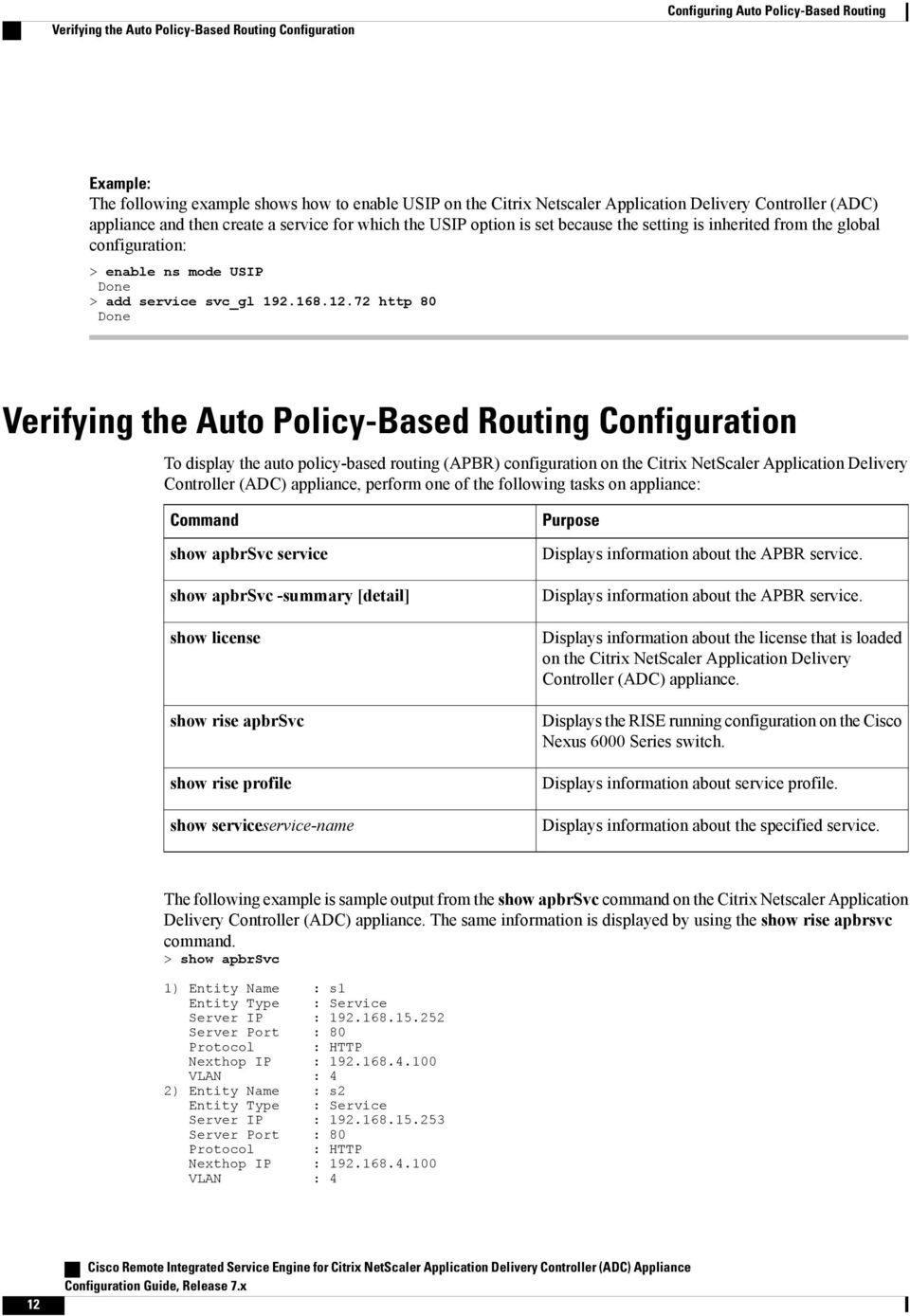 72 http 80 Done Verifying the Auto Policy-Based Routing Configuration To display the auto policy-based routing (APBR) configuration on the Citrix NetScaler Application Delivery Controller (ADC)