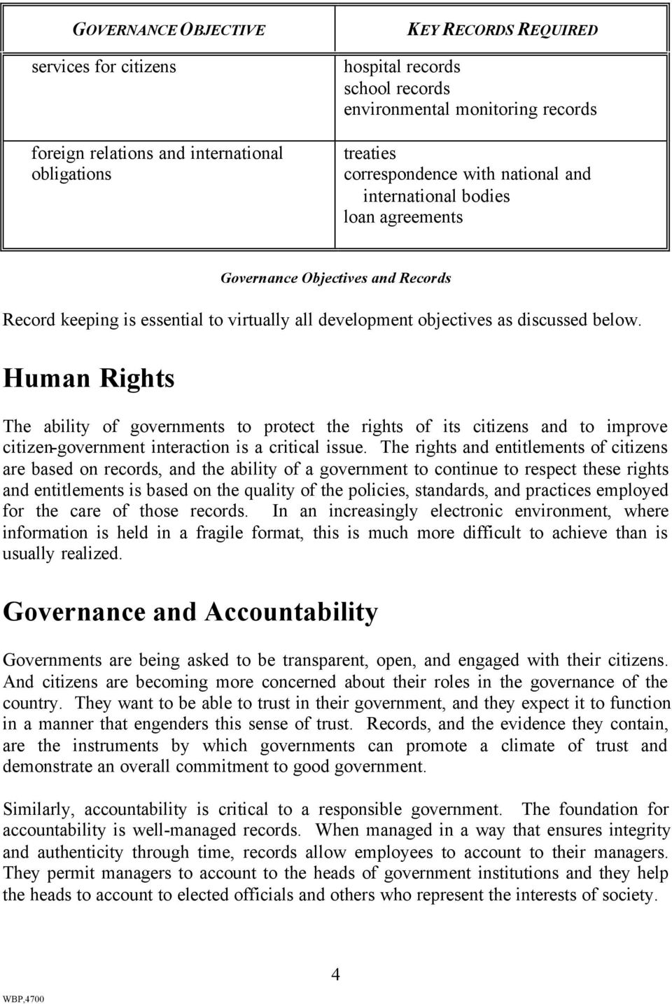 Human Rights The ability of governments to protect the rights of its citizens and to improve citizen-government interaction is a critical issue.