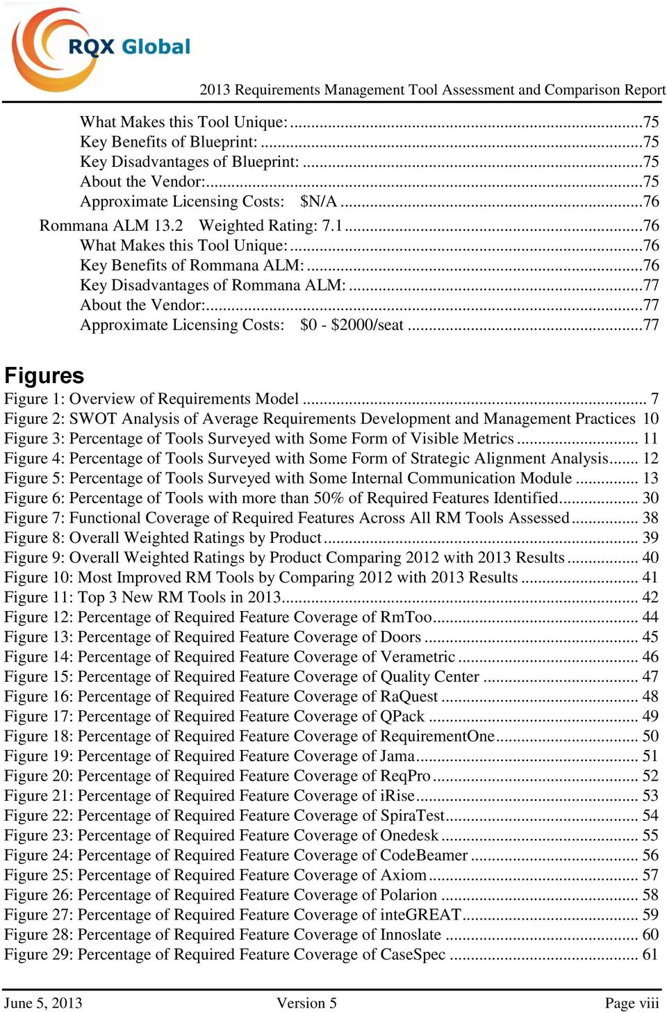 ..77 Approximate Licensing Costs: $0 - $2000/seat...77 Figures Figure 1: Overview of Requirements Model.