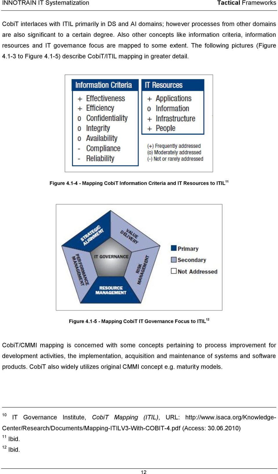 1-5) describe CobiT/ITIL mapping in greater detail. Figure 4.1-4 - Mapping CobiT Information Criteria and IT Resources to ITIL 11 Figure 4.