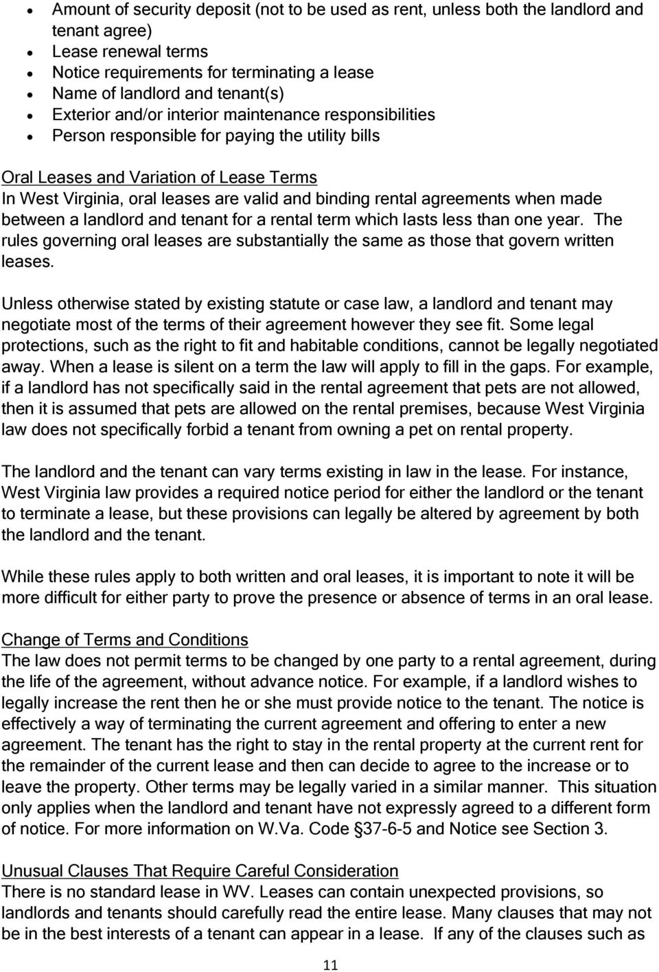 tenants and landlords in west virginia rights and agreements when made between a landlord and tenant for a rental term which lasts less than