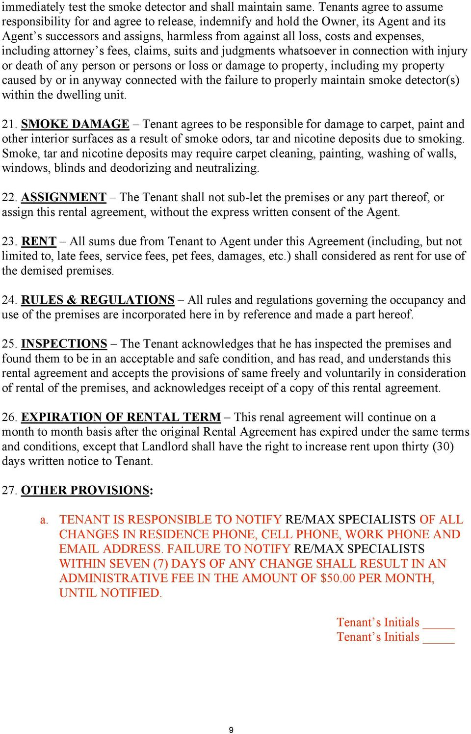 re max specialists property management lease agreement pdf including attorney s fees claims suits and judgments whatsoever in connection injury or