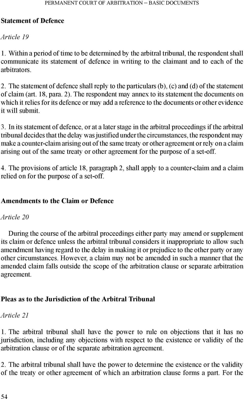 Permanent Court Of Arbitration Optional Rules For Arbitrating
