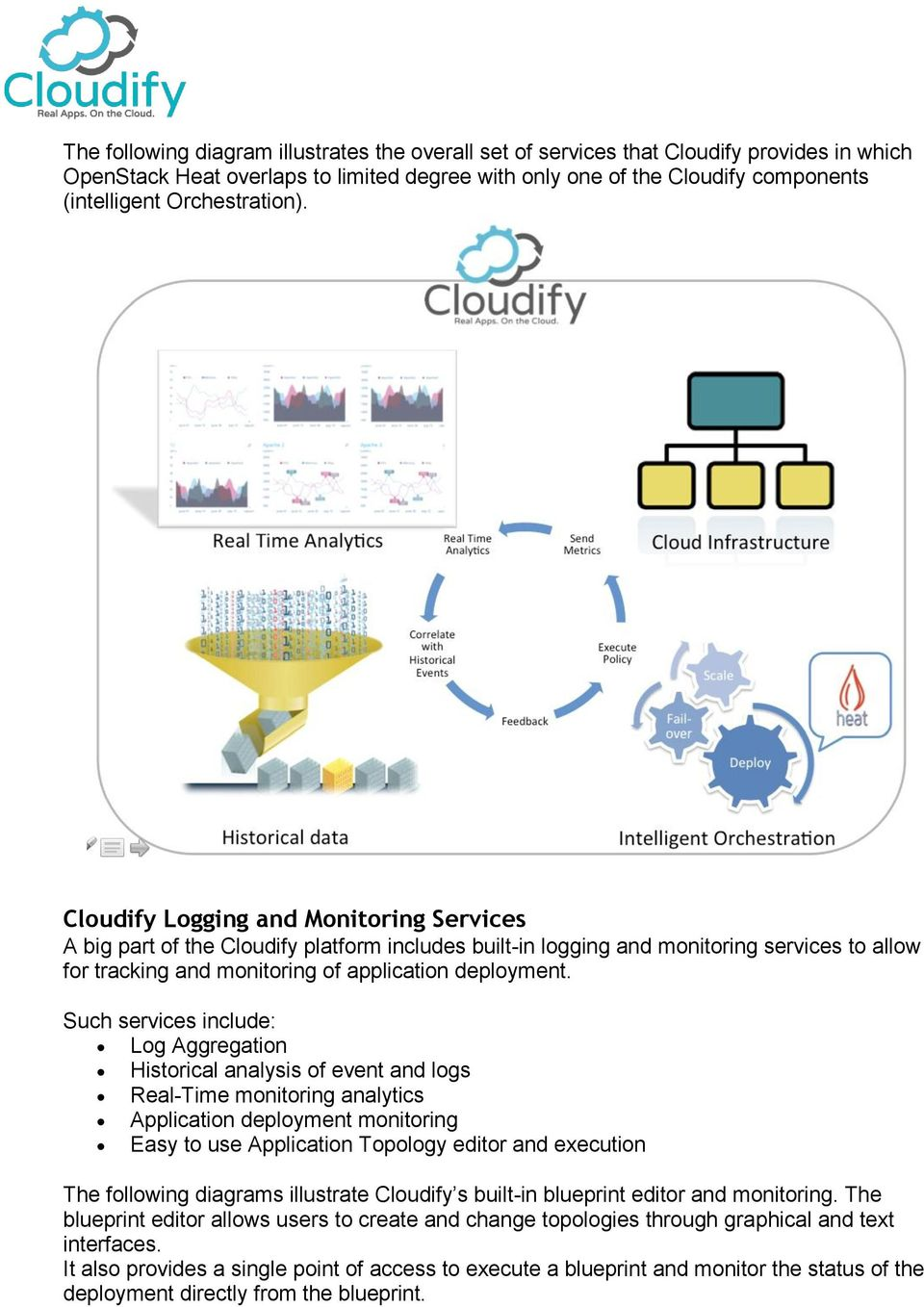 Cloudify Logging and Monitoring Services A big part of the Cloudify platform includes built-in logging and monitoring services to allow for tracking and monitoring of application deployment.