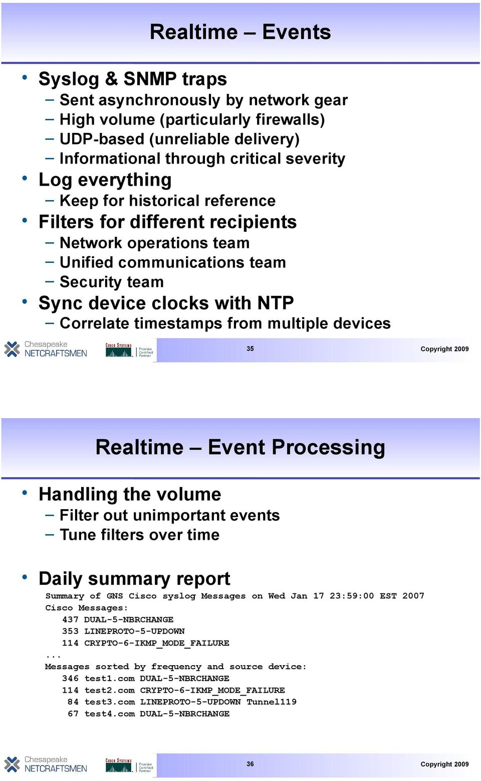 35 Realtime Event Processing Handling the volume Filter out unimportant events Tune filters over time Daily summary report Summary of GNS Cisco syslog Messages on Wed Jan 17 23:59:00 EST 2007 Cisco