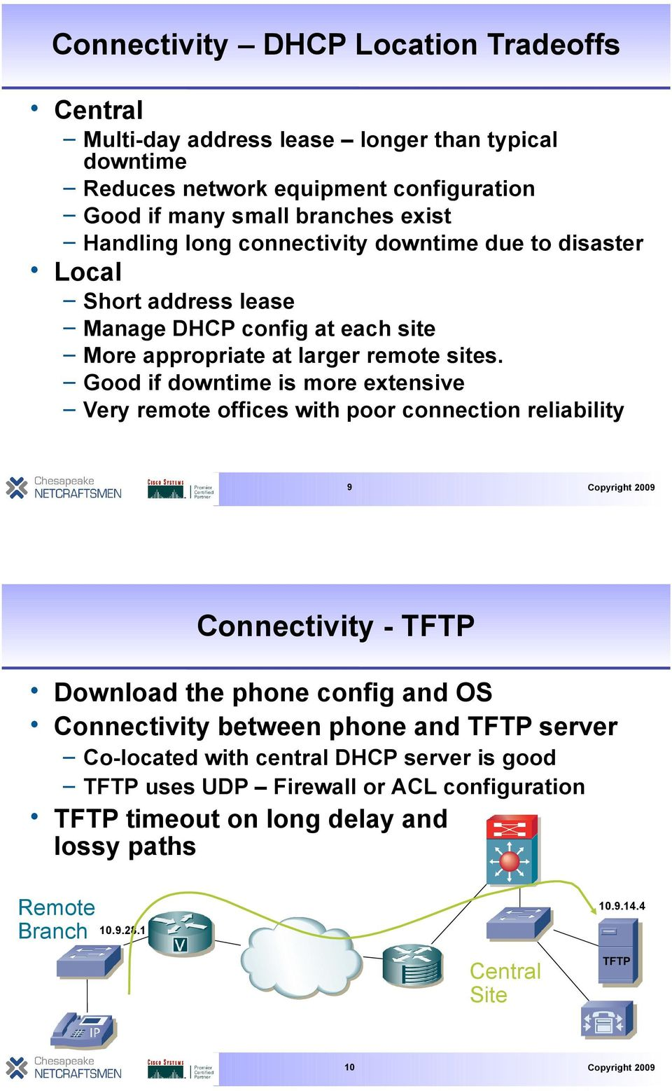Good if downtime is more extensive Very remote offices with poor connection reliability 9 Connectivity - TFTP Download the phone config and OS Connectivity between phone and