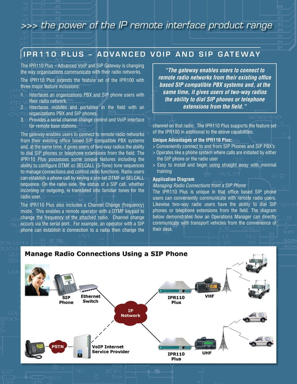 Interfaces mobiles and portables in the fi eld with an organizations PBX and SIP phones. 3. Provides a serial channel change control and VoIP interface for remote base stations.