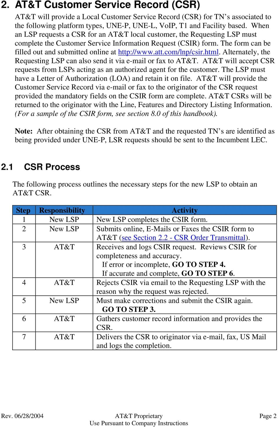 The form can be filled out and submitted online at http://www.att.com/lnp/csir.html. Alternately, the Requesting LSP can also send it via e-mail or fax to AT&T.