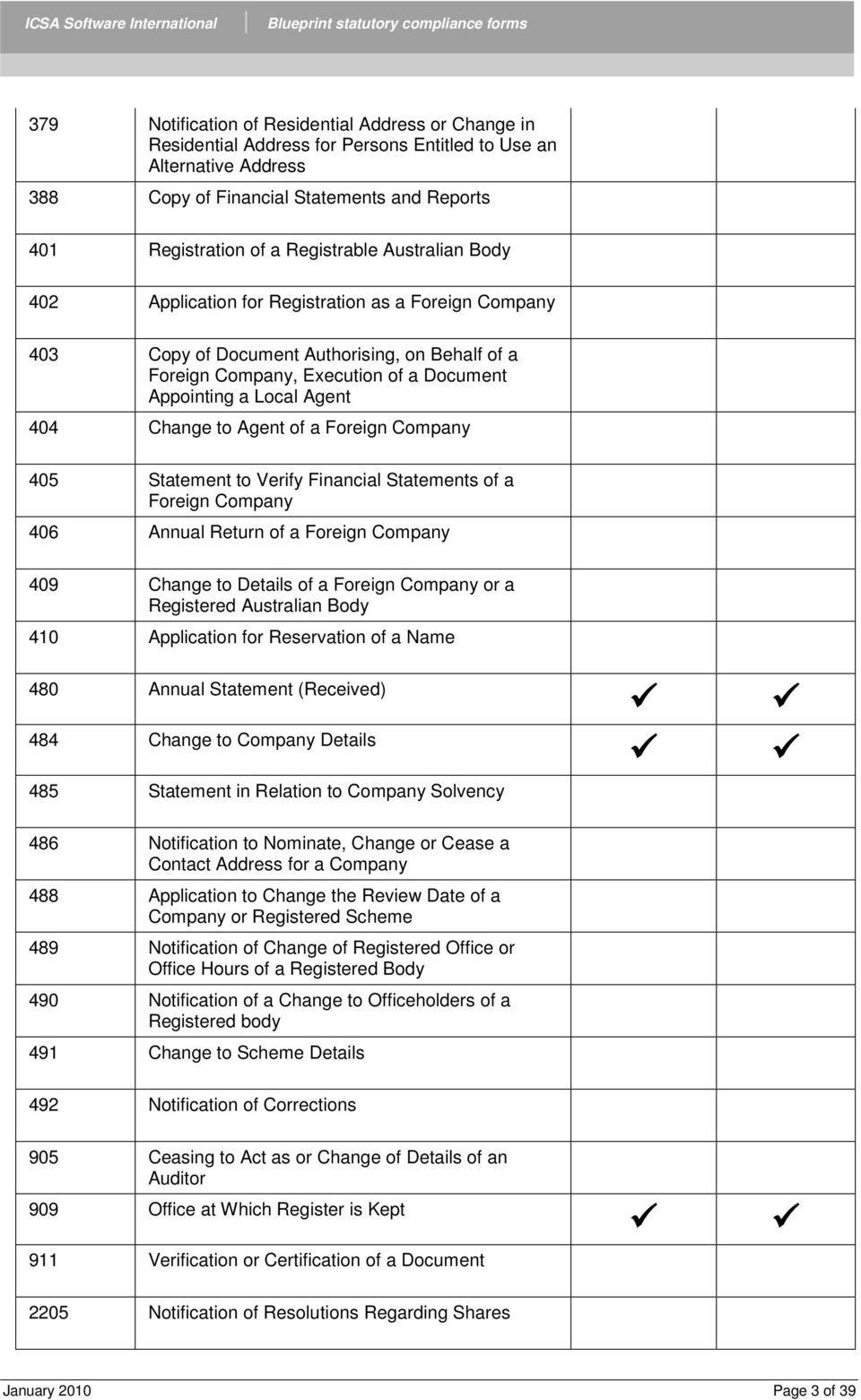 Blueprint oneworld statutory compliance forms pdf 404 change to agent of a foreign company 405 statement to verify financial statements of a malvernweather Gallery