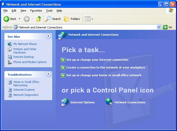 3 Click Network and Internet Connections. The Network and Internet Connections window is displayed.