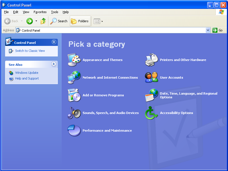 2 Click Control Panel to display the Control Panel window. The display varies, depending on your Windows P view options.