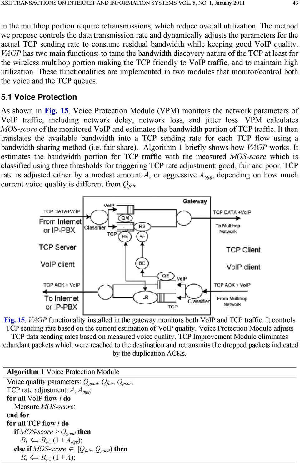 VAGP has two main functions: to tame the bandwidth discovery nature of the TCP at least for the wireless multihop portion making the TCP friendly to VoIP traffic, and to maintain high utilization.
