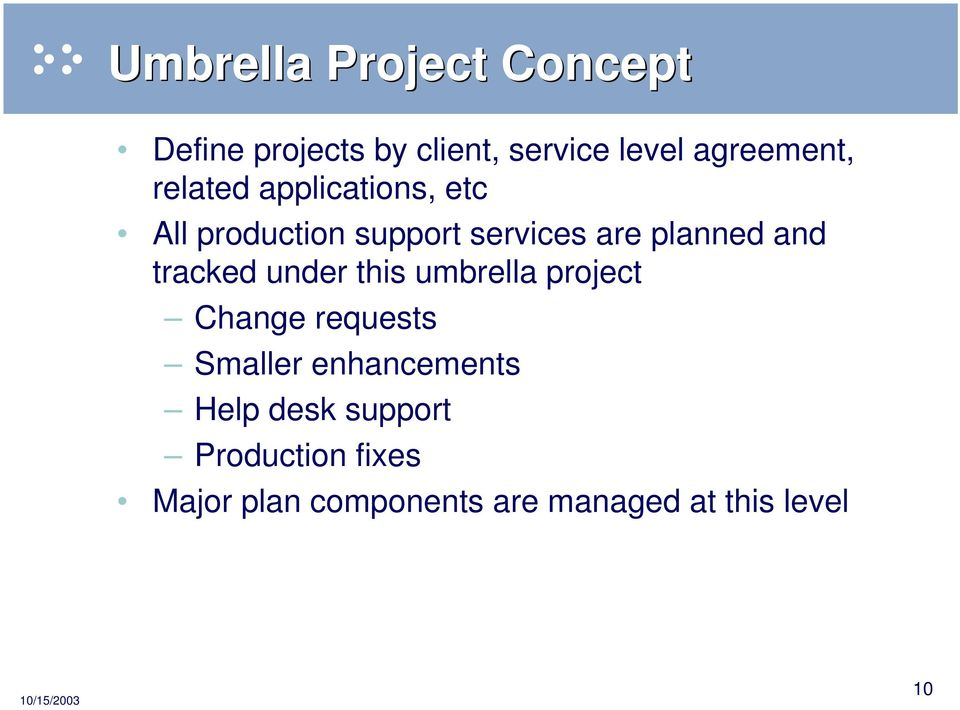 tracked under this umbrella project Change requests Smaller enhancements Help