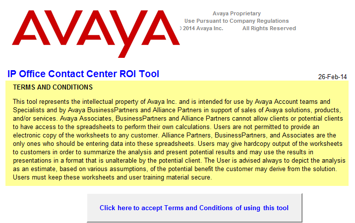 Sales portal Avaya IP Office Contact Center ROI tool ROI caculation tool based on Reduction
