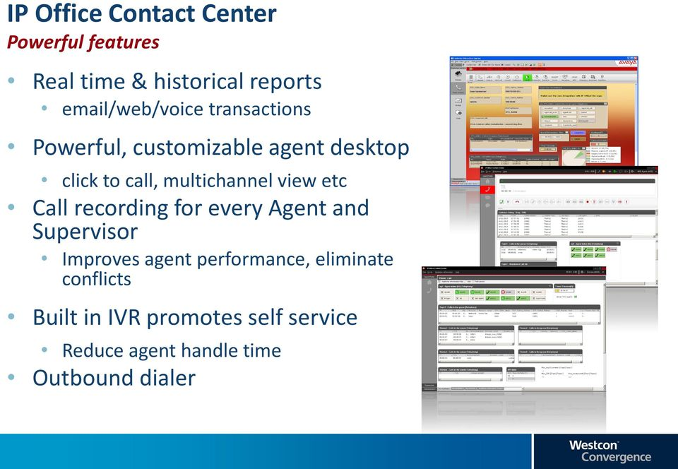 multichannel view etc Call recording for every Agent and Supervisor Improves agent