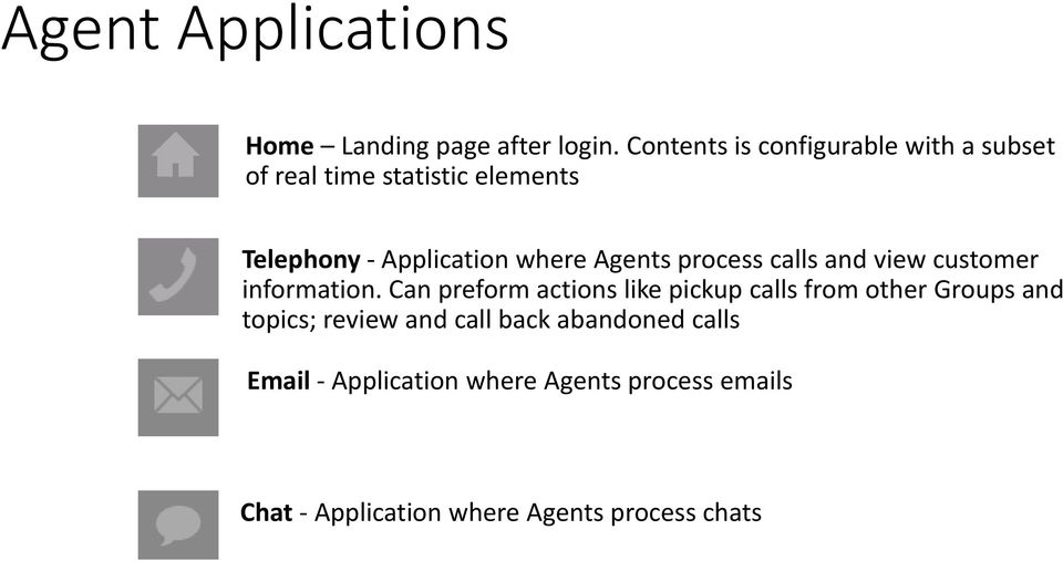 Agents process calls and view customer information.