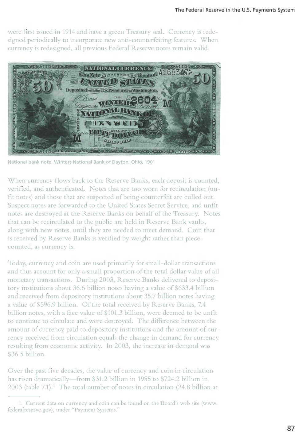 "Titleofimage: National bank note, Winters National Bank of Dayton, Ohio, 1901"" When currency flows back to the Reserve Banks, each deposit is counted, verified, and authenticated."