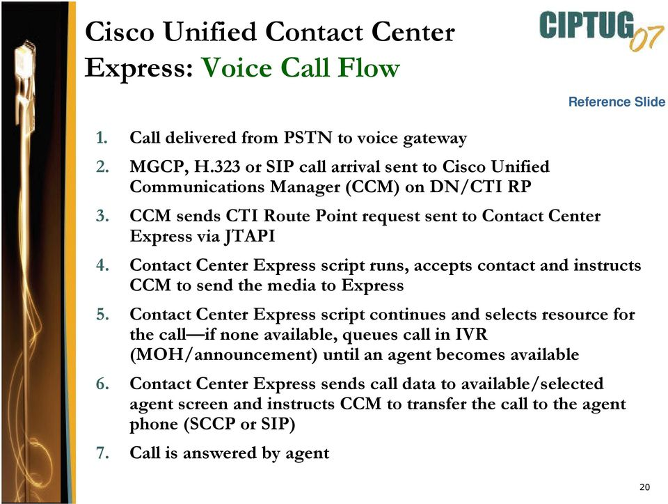 Contact Center Express script runs, accepts contact and instructs CCM to send the media to Express 5.