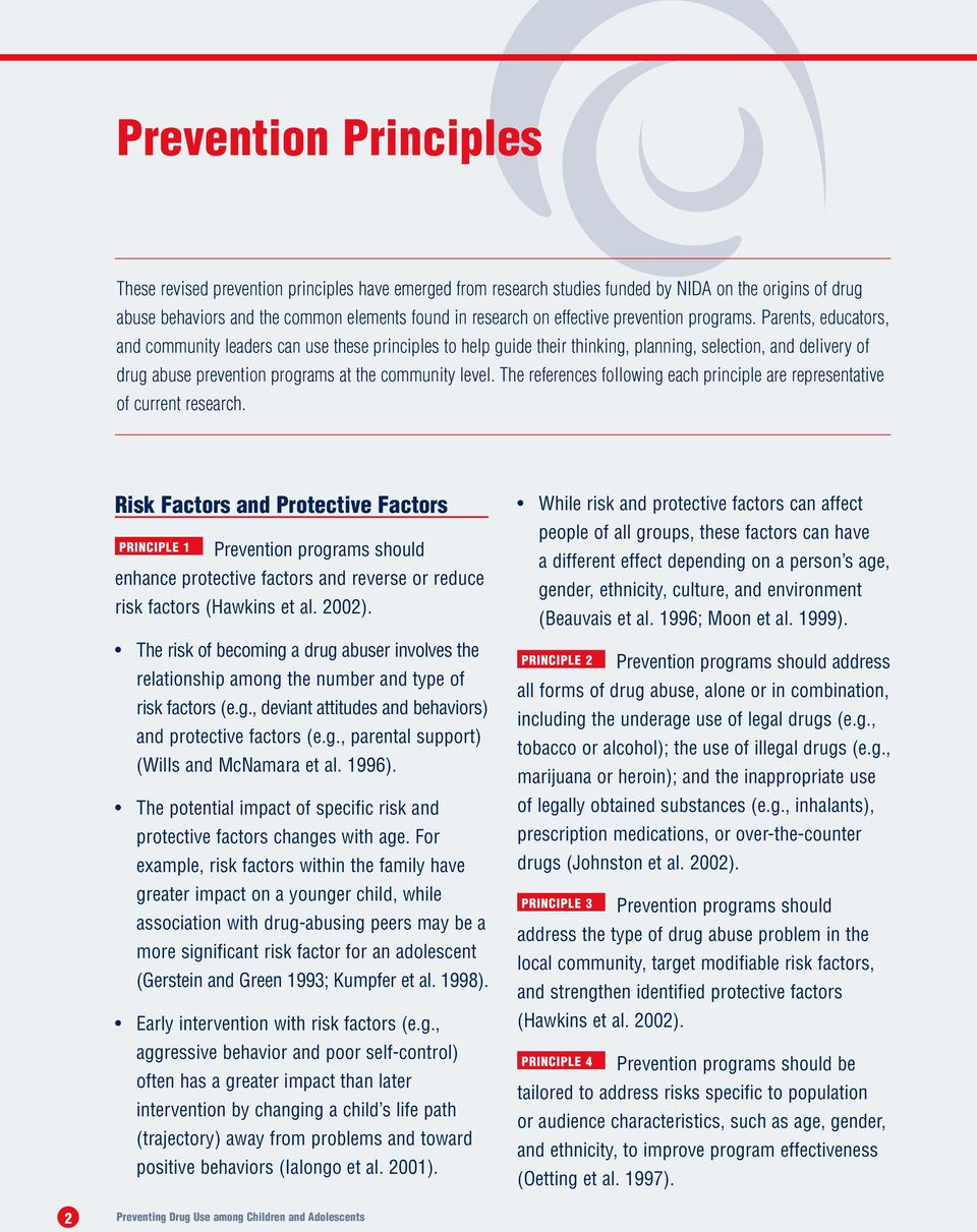 Parents, educators, and community leaders can use these principles to help guide their thinking, planning, selection, and delivery of drug abuse prevention programs at the community level.