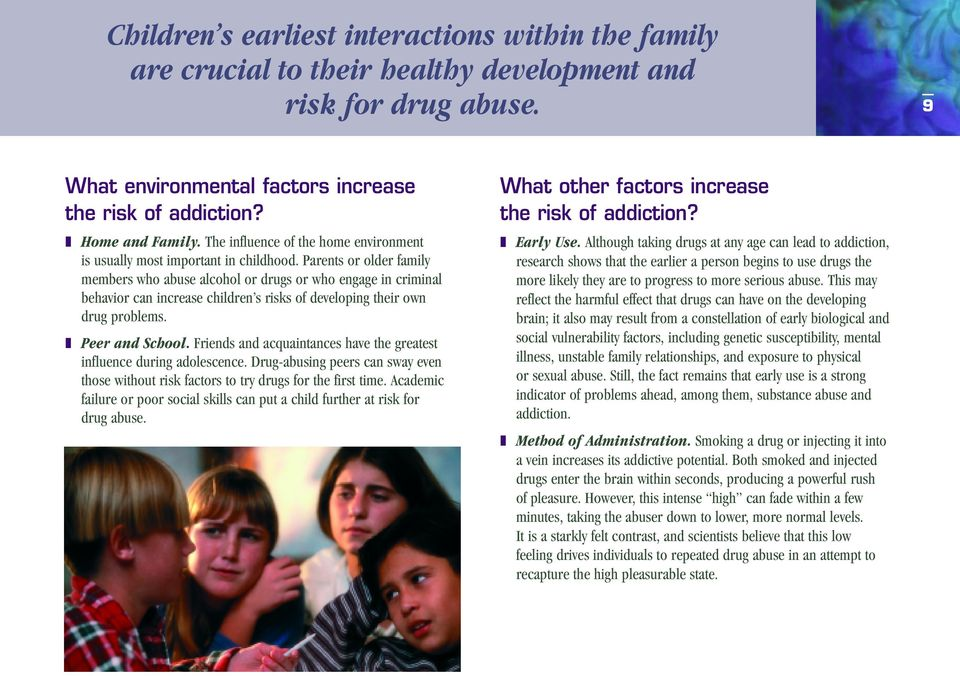 Parents or older family members who abuse alcohol or drugs or who engage in criminal behavior can increase children s risks of developing their own drug problems. Peer and School.
