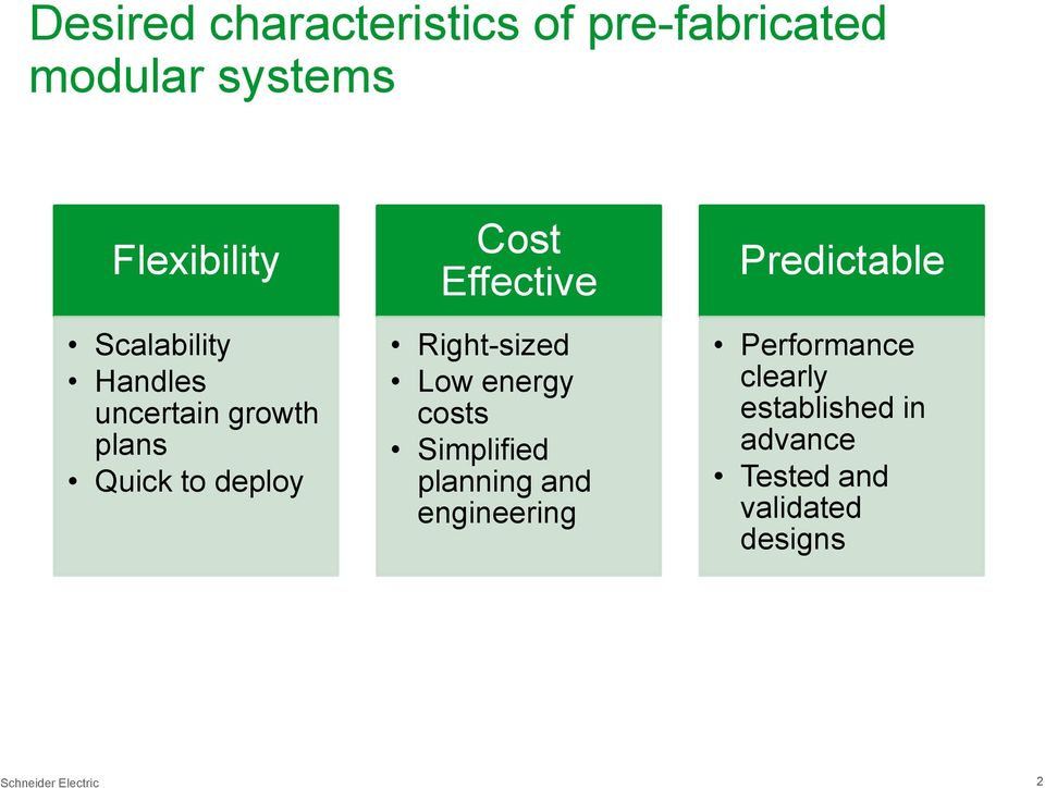 Right-sized Low energy costs Simplified planning and engineering Predictable