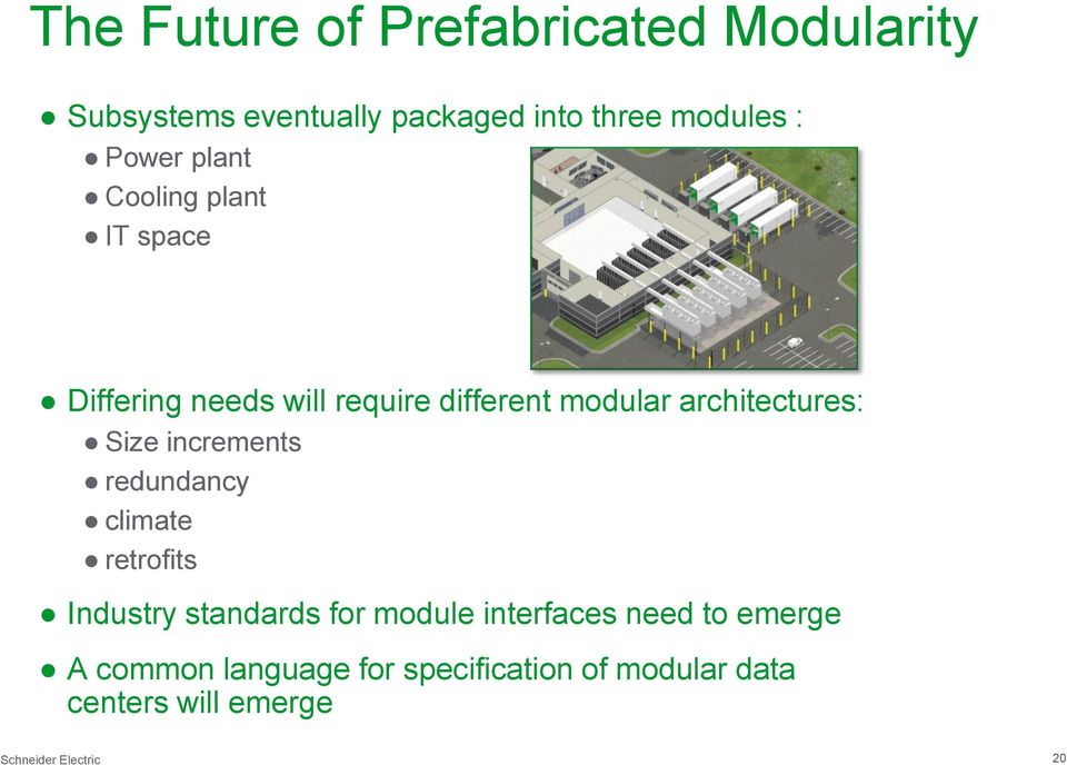 architectures: Size increments redundancy climate retrofits Industry standards for module