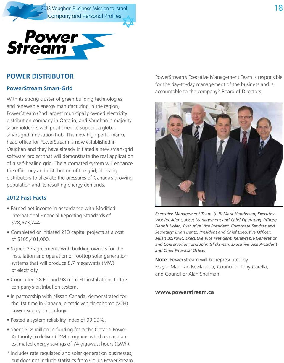 PowerStream Smart-Grid With its strong cluster of green building technologies and renewable energy manufacturing in the region, PowerStream (2nd largest municipally owned electricity distribution