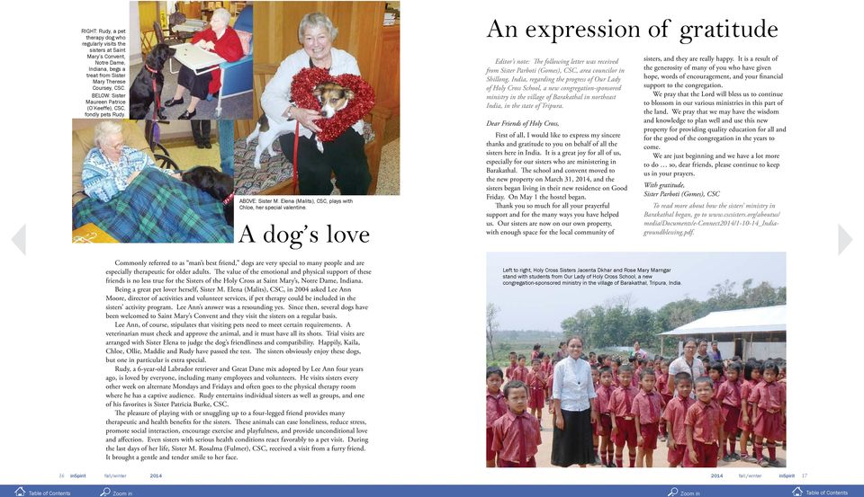 A dog s love An expression of gratitude Editor s note: The following letter was received from Sister Parboti (Gomes), CSC, area councilor in Shillong, India, regarding the progress of Our Lady of