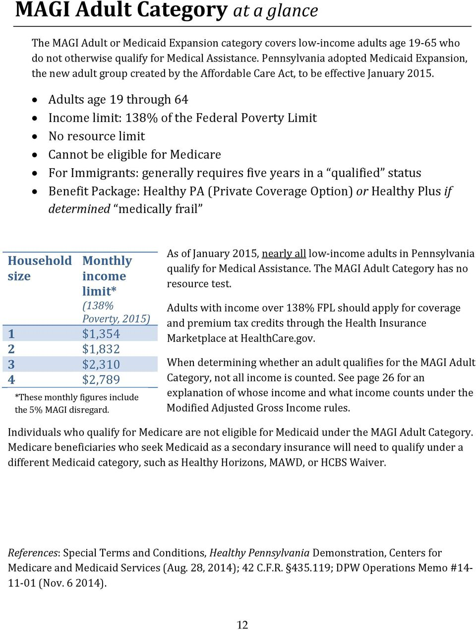 Adults age 19 through 64 Income limit: 138% of the Federal Poverty Limit No resource limit Cannot be eligible for Medicare For Immigrants: generally requires five years in a qualified status Benefit