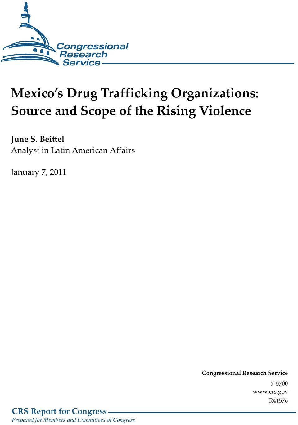 Beittel Analyst in Latin American Affairs January 7, 2011