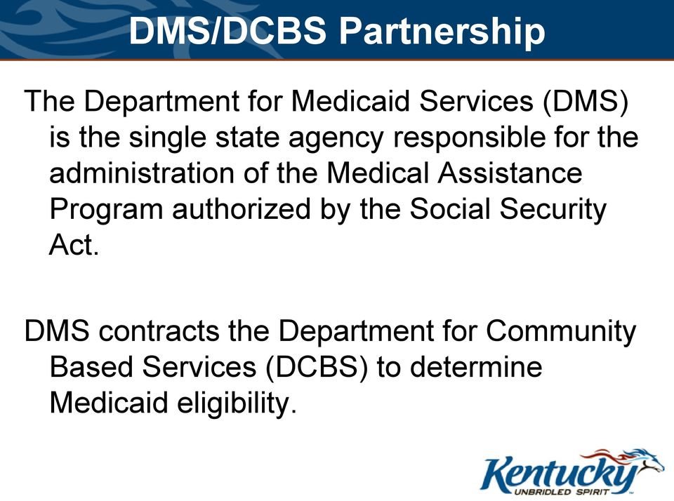 Assistance Program authorized by the Social Security Act.