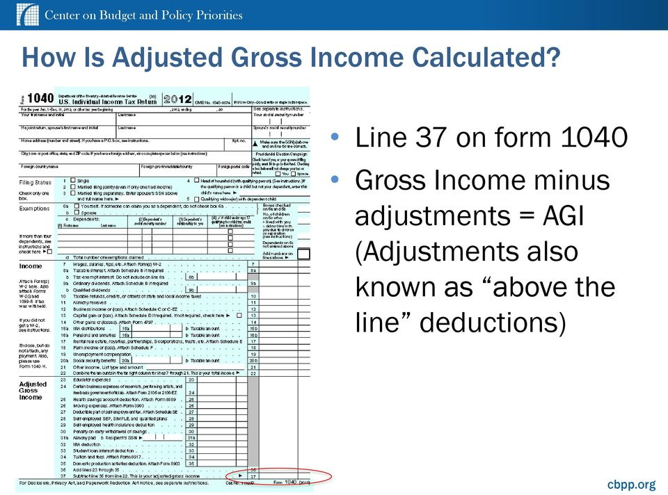 Line 37 on form 1040 Gross Income