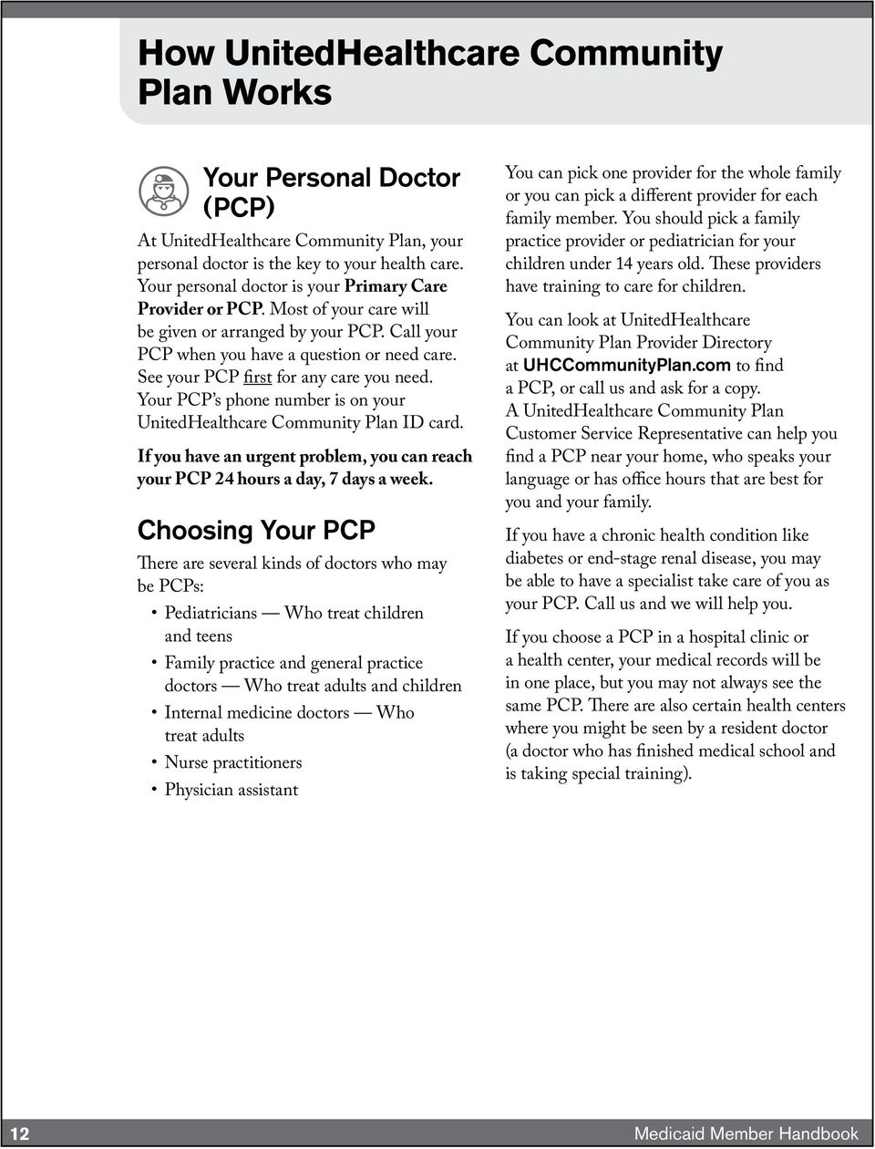 See your PCP first for any care you need. Your PCP s phone number is on your UnitedHealthcare Community Plan ID card.