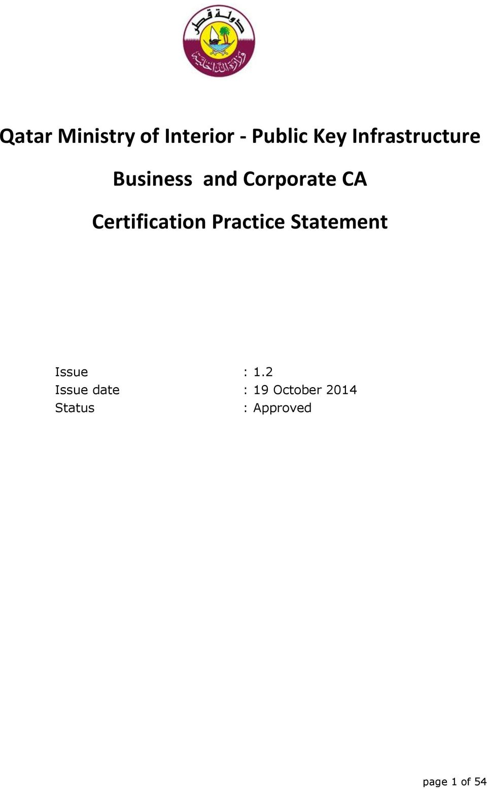Certification Practice Statement Issue : 1.
