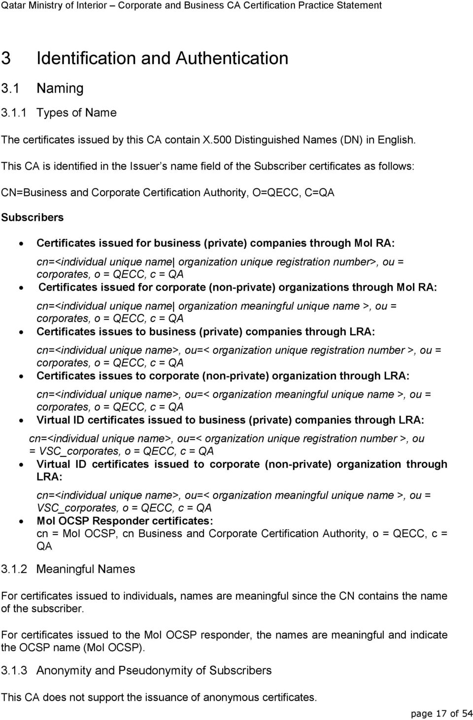 business (private) companies through MoI RA: cn=<individual unique name organization unique registration number>, ou = corporates, o = QECC, c = QA Certificates issued for corporate (non-private)