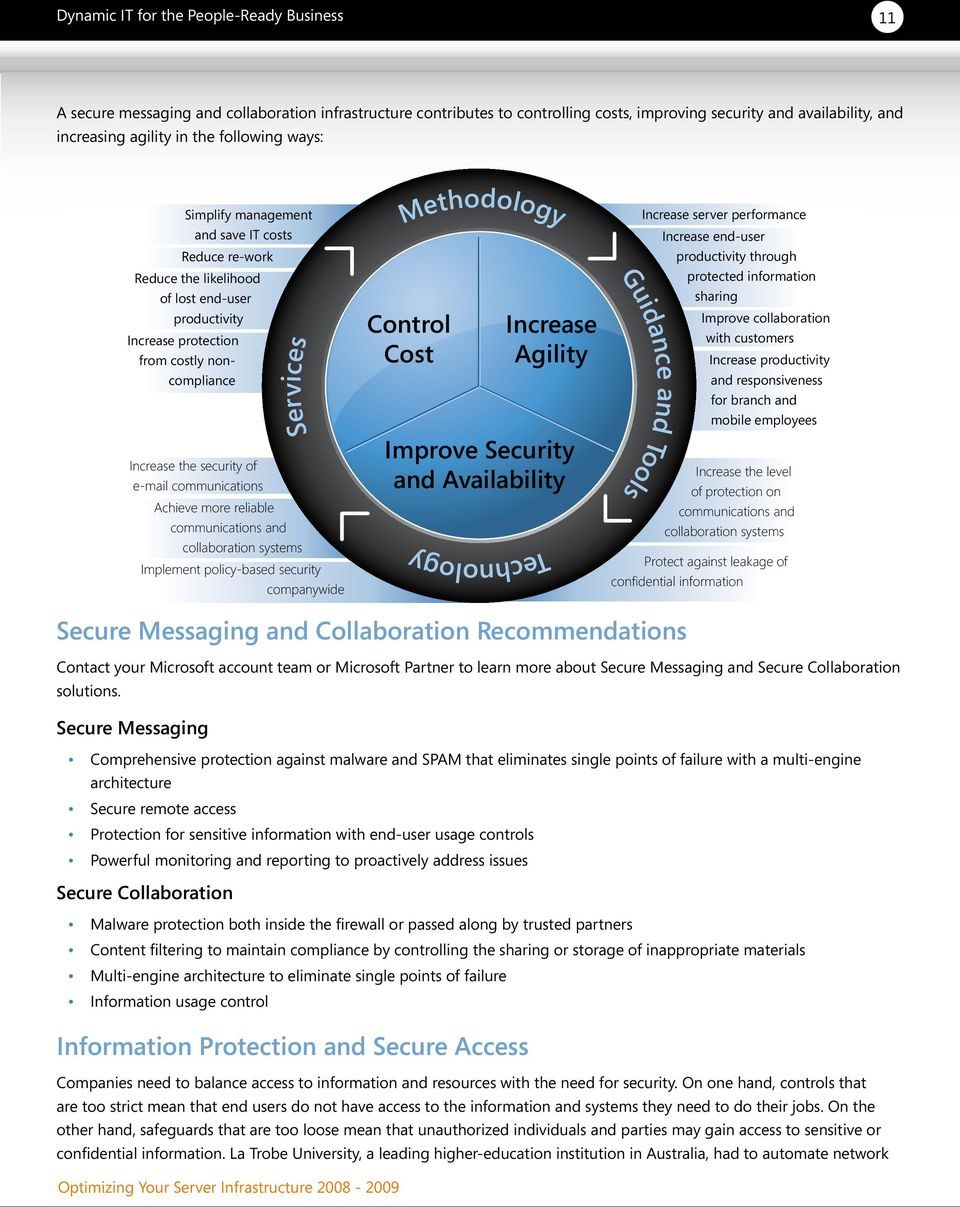Services communications and collaboration systems Implement policy-based security companywide Methodology Control Cost Technology Increase Agility Improve Security and Availability Guidance and Tools