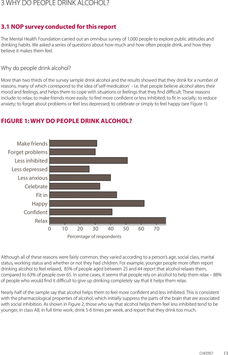 More than two thirds of the survey sample drink alcohol and the results showed that they drink for a number of reasons, many of which correspond to the idea of self-medication - i.e. that people believe alcohol alters their mood and feelings, and helps them to cope with situations or feelings that they find difficult.