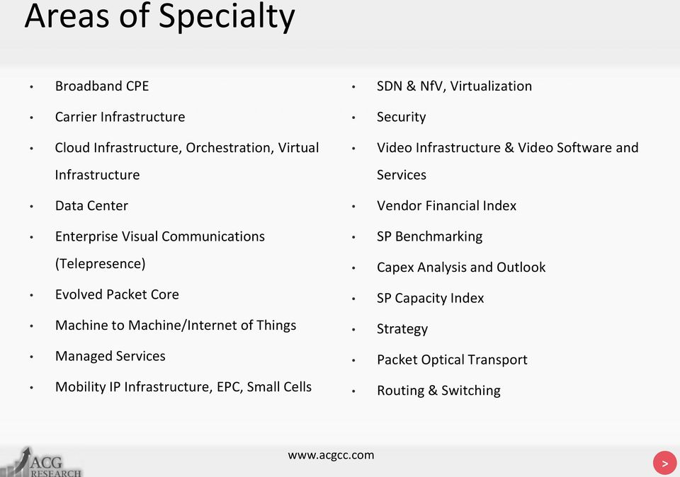 Mobility IP Infrastructure, EPC, Small Cells SDN & NfV, Virtualization Security Video Infrastructure & Video Software and