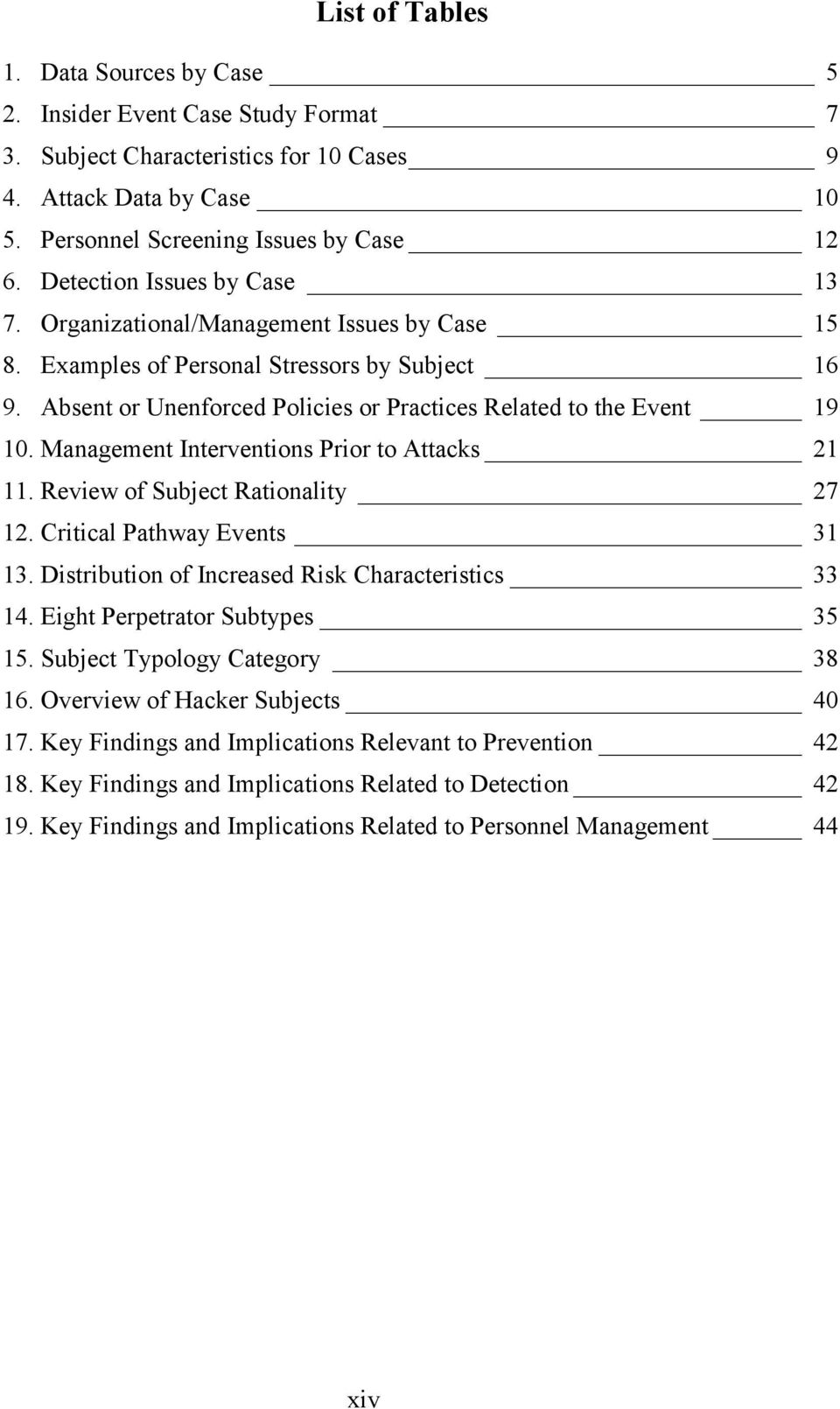 Management Interventions Prior to Attacks 21 11. Review of Subject Rationality 27 12. Critical Pathway Events 31 13. Distribution of Increased Risk Characteristics 33 14.