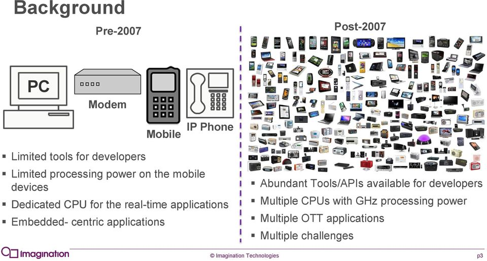 Embedded- centric applications Abundant Tools/APIs available for developers Multiple CPUs