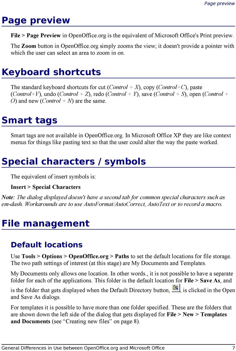 Keyboard shortcuts The standard keyboard shortcuts for cut (Control + X), copy (Control+C), paste (Control+V), undo (Control + Z), redo (Control + Y), save (Control + S), open (Control + O) and new