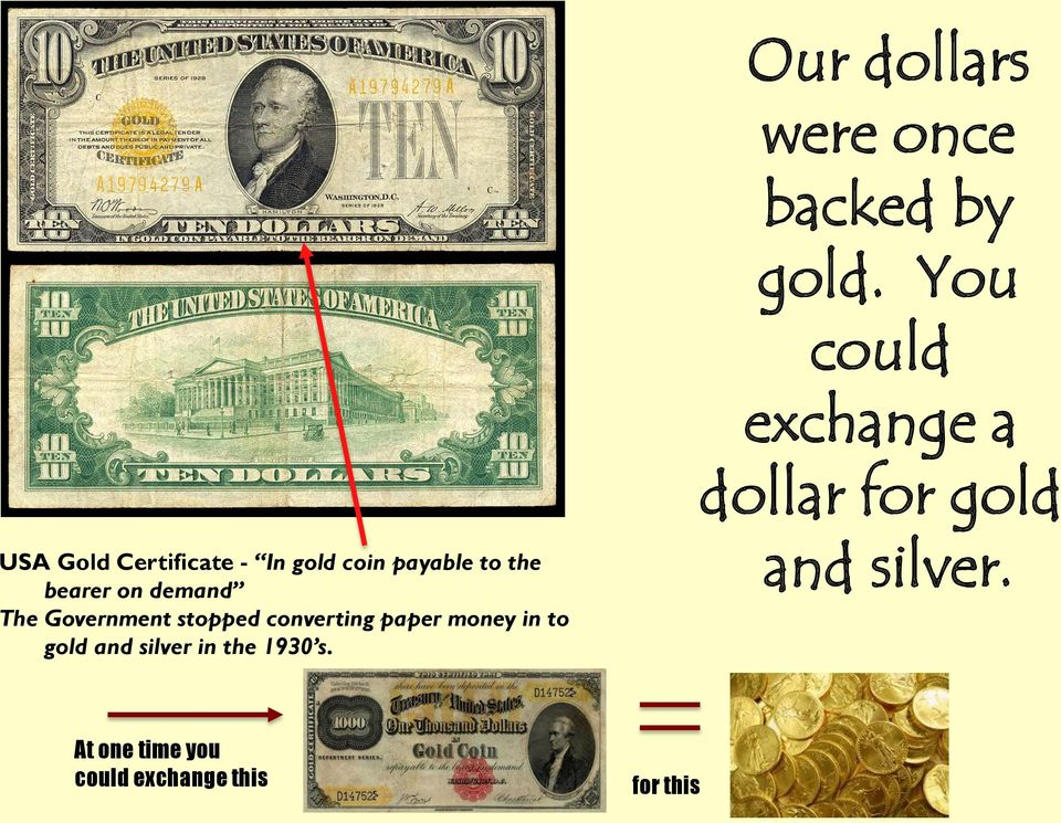 the 1930 s. Our dollars were once backed by gold.