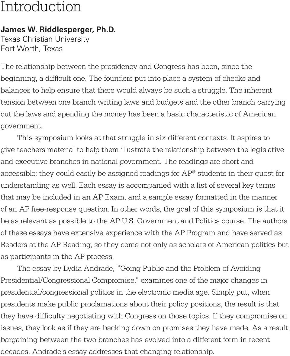 ap government and politics united states pdf the inherent tension between one branch writing laws and budgets and the other branch carrying out