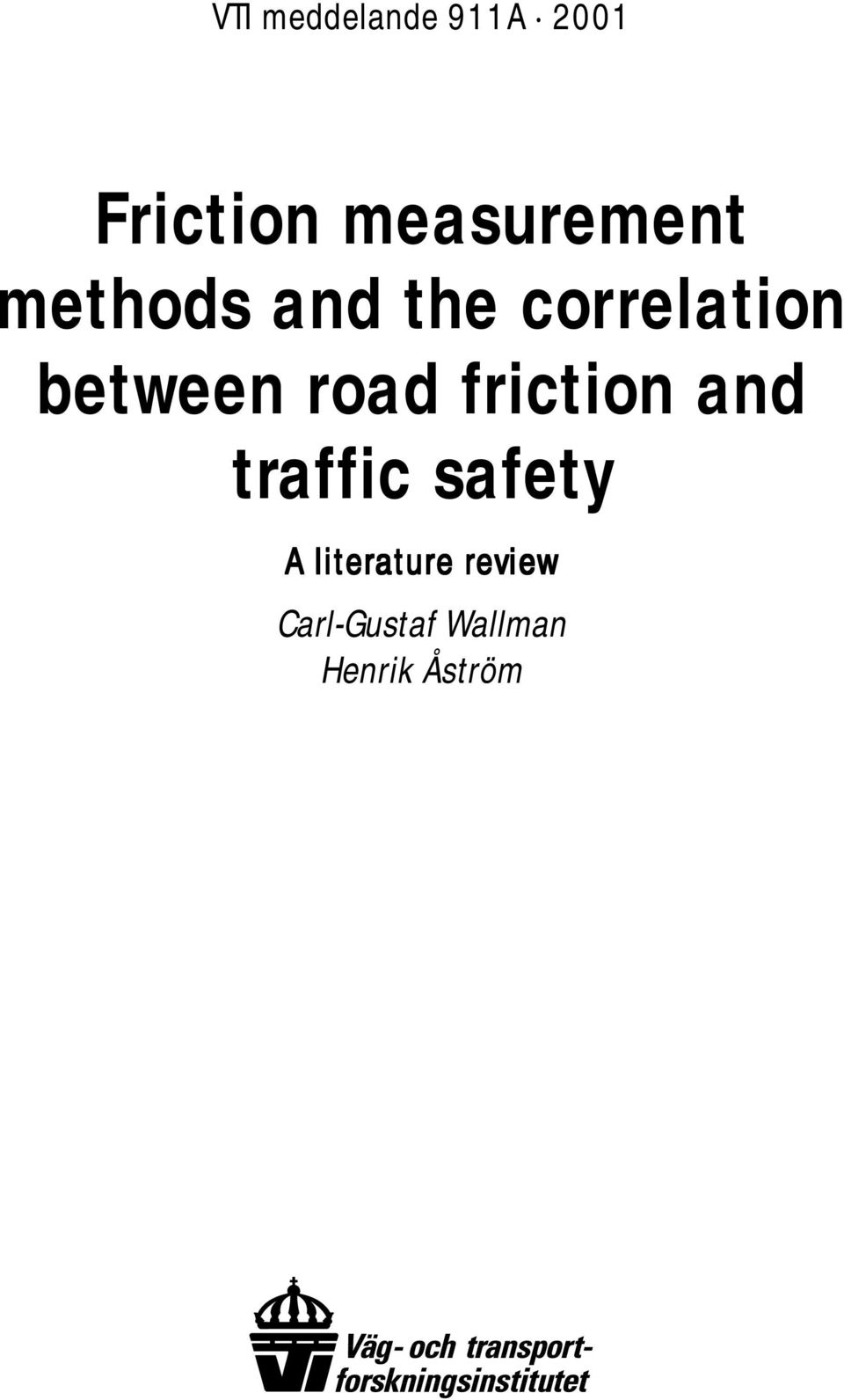 between road friction and traffic safety