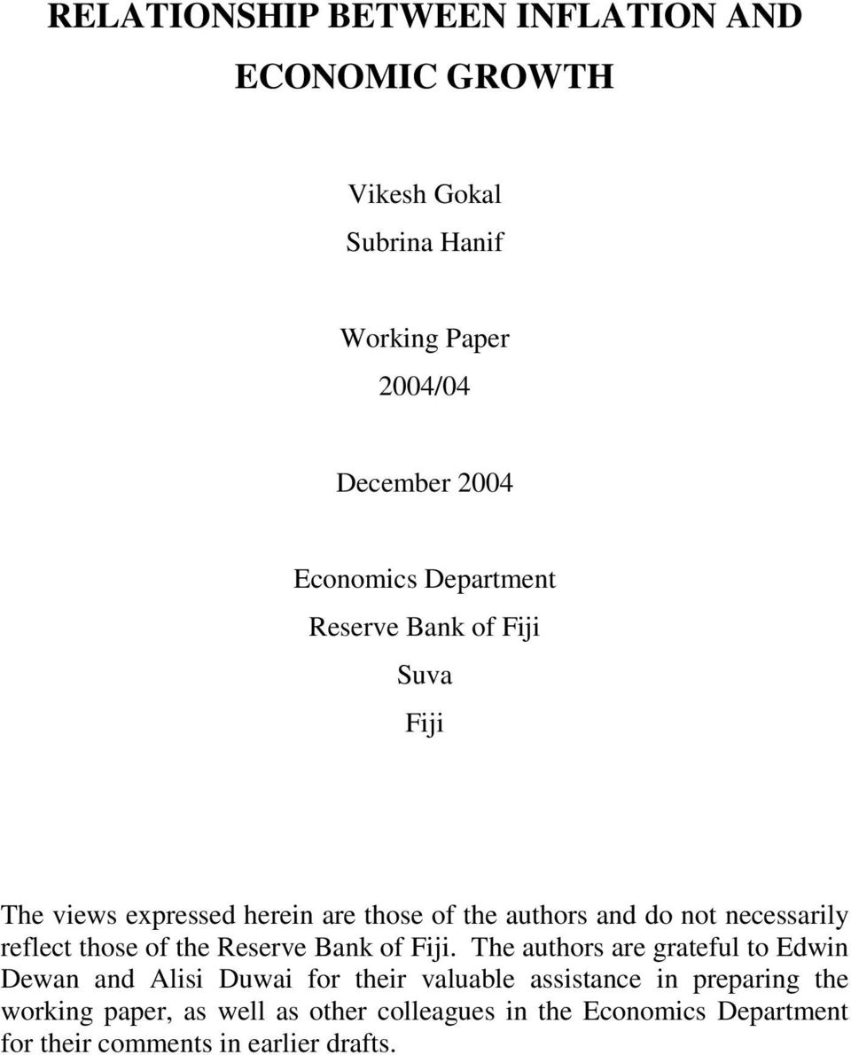 reflect those of the Reserve Bank of Fiji.