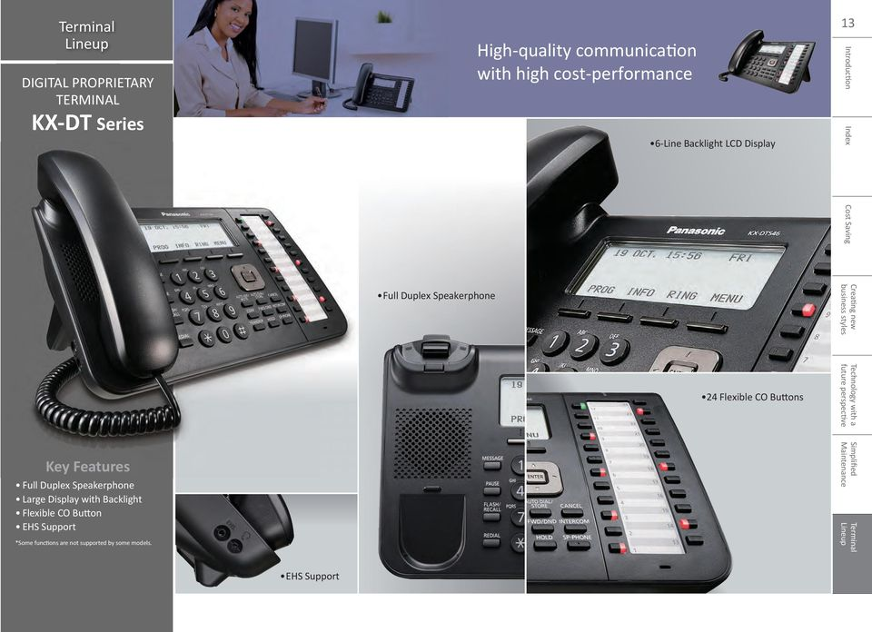 Flexible CO Bu ons Key Features Full Duplex Speakerphone Large Display with